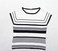 Fay Louise Womens Size L Striped White Top (Regular)