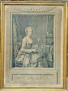 """Gravure XVIII ème """"Melle sa Sœur"""" par Chevillet d'après Heilmann circa 1760"""