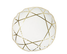 Round Diamond Pattern Throw Cushion - White & Gold - Baby Nursery - Playroom