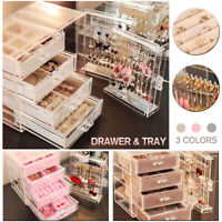 Acrylic 4Drawers Cosmetic Makeup Holder Jewellery Earrings Organiser Storage Box