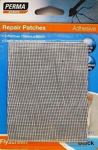 Fly Screen REPAIR PATCH 100M X 80MM Perma Adhesive 3 Pcs