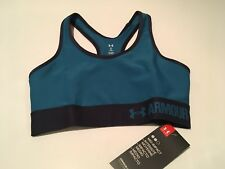 Under Armour Mid Womens Pink Blue Compression Sports Gym Bra Support Top XS