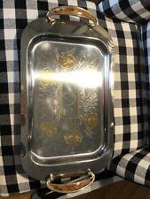 Vintage Inox 18/10 Oro Gedis 24kt Tray W Handles Italy