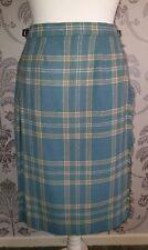 "Ladies Pitlochry Pure New Wool Knee Length Blue Kilt - 28-30"" Waist."