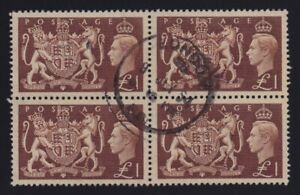 Great Britain Sc #289 (1951) £1 King George VI Royal Arms Block of 4 VF Used