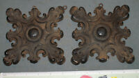 Set of 2 Vintage 1964 Faux Wood Carving Decoration Medallion Leaf Rosette 7''