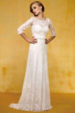 A-line Lace 3/4 Sleeve Wedding Dresses