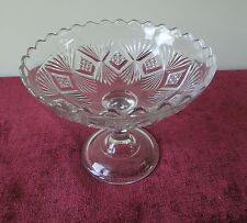 SHEAF AND DIAMOND OPEN COMPOTE BRYCE HIGBEE EAPG ANTIQUE GLASS PRESSED PATTERN