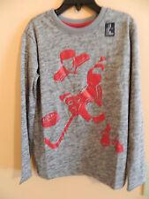 "NWT Gap Fit boy heather gray shirt w/a red hockey player & puck w/""gap""; size S"
