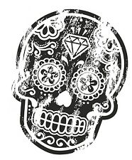 Distresed Aged BLACK Mexican Day Of The Dead Sugar Skull Motif Car Sticker Decal