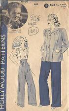 1940 WW2 Vintage Nähen Muster B34 Hemd & Hose Hosen (1491)