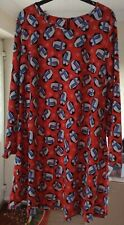 CAPSULE RED PENGUIN SNOWFLAKE DESIGN XMAS DRESS SIZE 20 (FITS 20-22) WORN ONCE