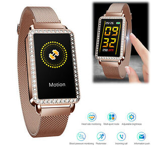 Women Girls Smart Watch Stainless Steel Sport Wristband for Apple iPhone Android