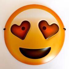 HEART LOVE EYES EMOJI FACE MASK - KIDS ADULTS SMILEY GIFT FANCY DRESS EMOTICON