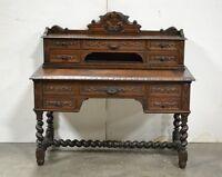 Antique French Dark Oak Carved Hunt Desk