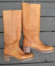 Vintage Women's 1970s Tall Frye Campus Boots Red/Brown Leather 6.5 B Great!