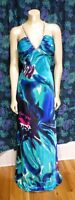 Morgan & Co. Formal Dress Size 13/14 Maxi Floral Teal Blue with Train Prom Dress
