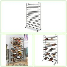 10 Tier Shoe Tower 50 Pair Rolling Chrome Rack Locking Wheels Storage Organizer