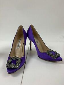 Manolo Blahnik Hangisi 105 Purple Satin Pumps Heels Jewel Buckle Sz 36.5 - 6.5