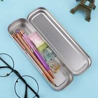 Rectangular Stationery Tin with Hinged Lid Elegant Cute Chic Pencil Case