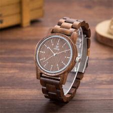 Vintage Herren Leuchtende Analoge Holz Armbanduhr Quarzuhr Manner Mode UW1007