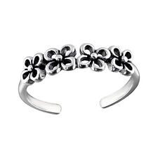 Solid Band Oxidised Toe Ring Adjustable 925 Sterling Silver 4 Daisy Chain