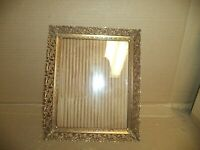 Vtg Mid Century Filigree Floral Goldtone Metal Photo Picture Frame 8x10