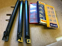"""New Boring Bar Lot of 3 CNMG/CCMT/TNMG 5/8"""" With 30 Carbide Inserts"""