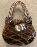 Beautiful Hand Blown Art Glass Purse Vase-purple,orange,greens