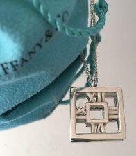 Tiffany & Co Silver Atlas Square Roman Numeral Pendant Necklace