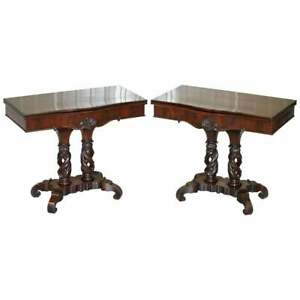 RARE PAIR OF R.STRAHAN & CO DUBLIN IRISH REGENCY MAHOGANY FOLD OVER CARD TABLES