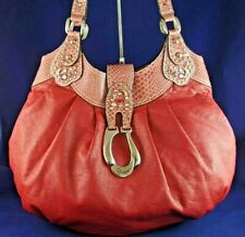 GUESS LARGE STUDDED JEWELED CROC FAUX LEATHER BRICK RED SLOUCH HOBO SHOULDER BAG
