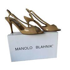 Manolo Blahnik Women's Camel Patent Albita Open Toe Slingback Sandal Shoe sz 40