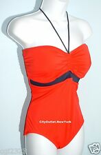 TOMMY HILFIGER Swimwear Size 14 Red Bandeau Halter One-Piece NEW