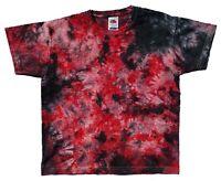 Black & Red TIE DYE T SHIRT KIDS Tee Hipster Tye Die Tshirt Festival Rainbow