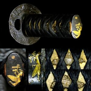 601 Japanese Samurai Edo Antique  Nice fittings tanto sword tsuka & tsuba set.