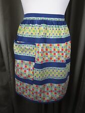 Vintage 50s Pinny Pinafore Apron Geometric Blue Red Yellow Green