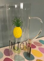 """RAE DUNN """"ENJOY"""" CLEAR GLASS PITCHER PINEAPPLE 10 INCHES TALL NEW WITH TAGS"""