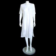 PHELGYE White Embroidered Tunic Dress Button Front Boho Hippie Side Slits sz 42
