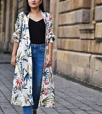 Zara Long Floral Printed Kimono Jacket With Belt Size Medium