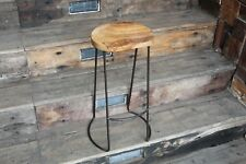 Metal bar stool, solid elm wood, black rustic bar stool backless