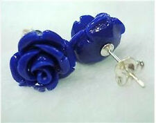 Beautiful Blue Sea Coral Carved Rose Earring 12X12MM