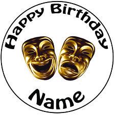 """Masquerade COMMEDIA ORO MASCHERE Icing CAKE TOPPER-pre-tagliati 8 """"Circle qualsiasi testo"""
