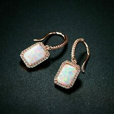 Drop/Dangle Earrings 4.00Ct Emerald Cut Fire Opal & Diamond 14k Rose Gold Finish