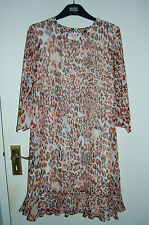 Shift Style Dress Animal Print Fully Lined Chiffon M&s Limited Coll Size 10
