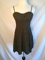 American Eagle Outfitter Black/White Polka Dot Padded Bustier A-Line Dress M -G-