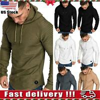US Men Muscle Pleated Long Sleeve Tops Round Neck Slim Fit Hoodie T-Shirt Blouse