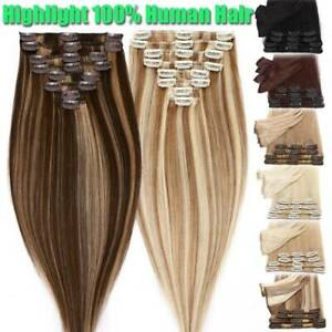 UK CLEARANCE 100% Human Hair Extensions Clip In Real Remy Hair FULL HEAD Caramel