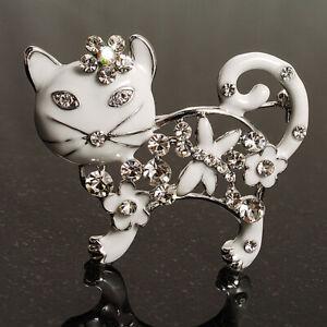 Schneewittchen Kristall Emaille Katze Brosche