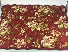 New listing 3 Waverly Red Floral Reversible Quilted Scalloped Edge Cotton Placemats Prisine!